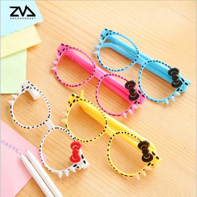 2 unids/set Kawaii lindo Bowknot gafas bolígrafo para escribir la escuela suministros accesorios de oficina papelería niños Regalo De estudiante