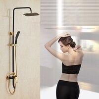 Dofaso copper Bathroom exposed shower faucets system withe & Black rain shower set head 8'' Luxury black bath shower kit