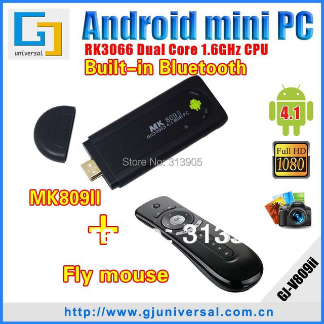 MK809 II Bluetooth with T2 air mouse 8GB Android HDMI dongle 4.2 Dual Core Mini pc Cortex A9 WiFi 1080P 3D RK3066 HD player
