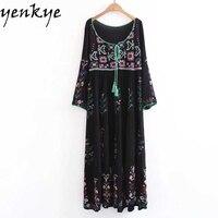 Women Boho Summer Dress Floral Embroidery Dress Lace Up O Neck Long Sleeve Loose Casual Long Dresses robe longue