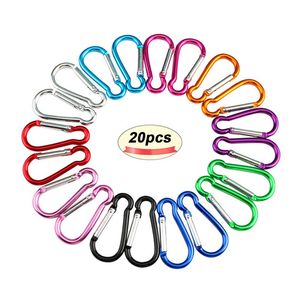 20PCS Carabiner For Keys Chain Key Chain Mini Gourd-Shaped Aluminum Alloy Keychain Clip Hook Lock Travel Hiking Camping