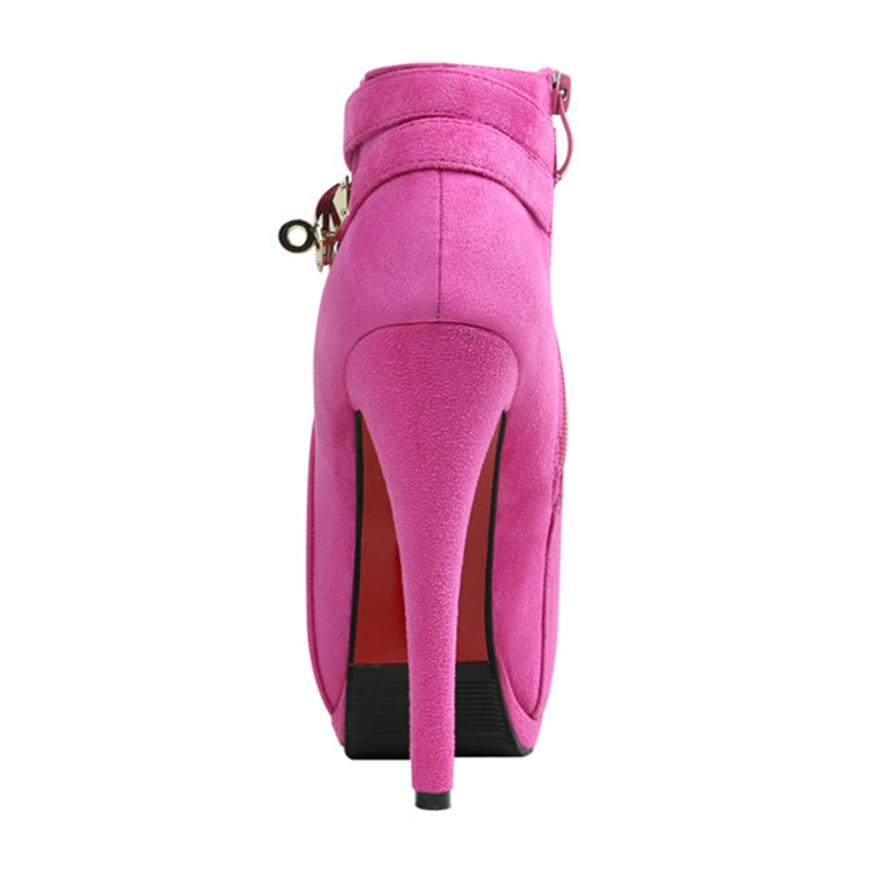 rosy Otoño Rebaño Plataforma 2019 Mujeres Fino Moda Conciso Negro Las Metal Mujer Tacones Cinturón Hebilla De La Altos Tobillo Cortas Tacón Red Zapatos Botas xxBpZwSq