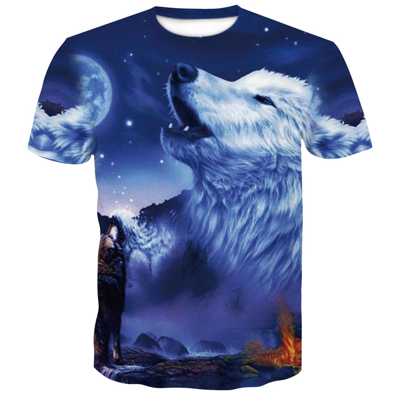 Mens clothing 2019 summer 3D T-Shirt black T shirt Casual Wolf Printed Cartoon Short Sleeve Tee Shirt Men Brand M-4XL