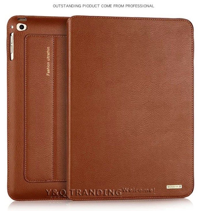 Ultrathin Cowhide Genuine Leather Case for Apple iPad Real Leather Business Stand Smart Cover for iPad  (9)
