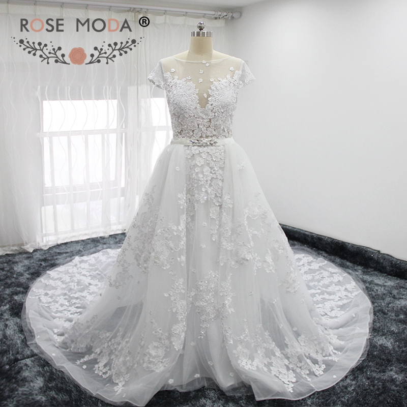 Rose Moda Gorgeous Short Sleeves Lace Sheath Wedding Dress with Detachable Skirt Sheer Bateau Neck Low V Back Crystal Sash