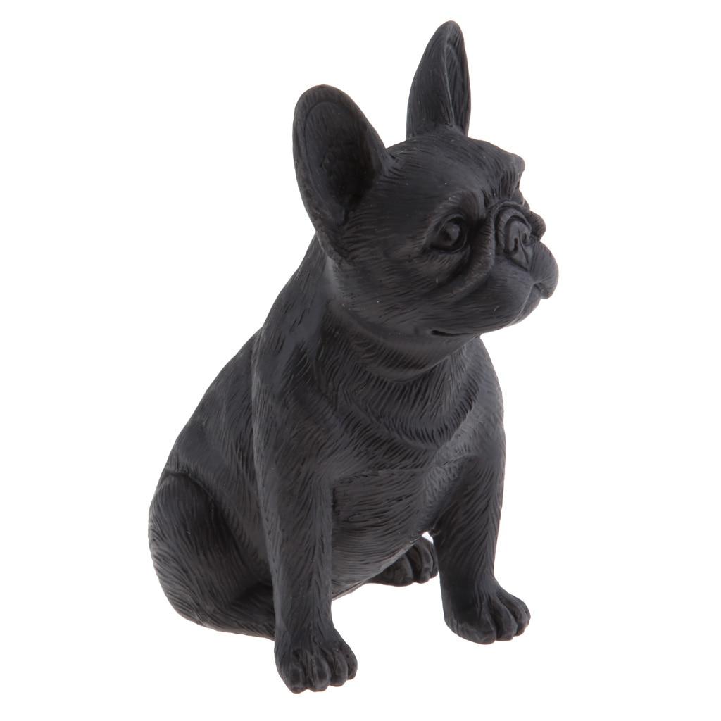 Handcraft Resin Black Sitting French Bulldog Ornament Holiday Party Display