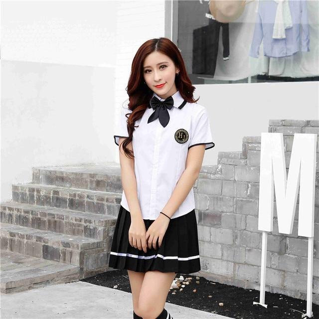 1ff2d6cfb4 2017 Nuevo japonés Corea chica alta Colegio marinero uniforme escolar  uniforme manga corta Plaid falda escuela