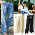 Men's Fashion Casual Loose Drawstring Waist Solid Linen Trousers Beach Pants Store 50