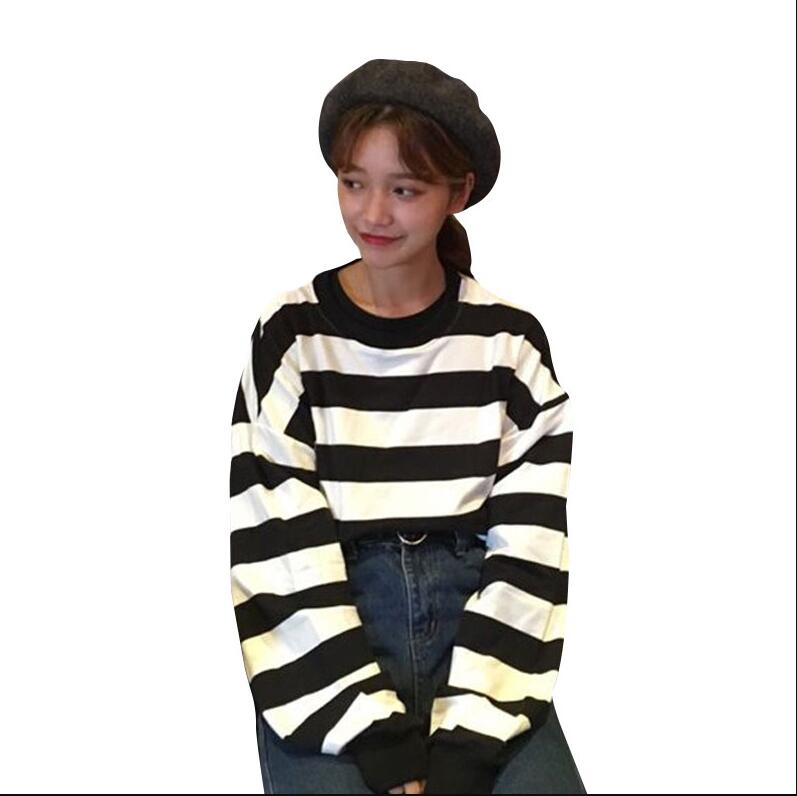Women Korean of the spring autumn loose striped bf wind long sleeves pullovers sweatshirt