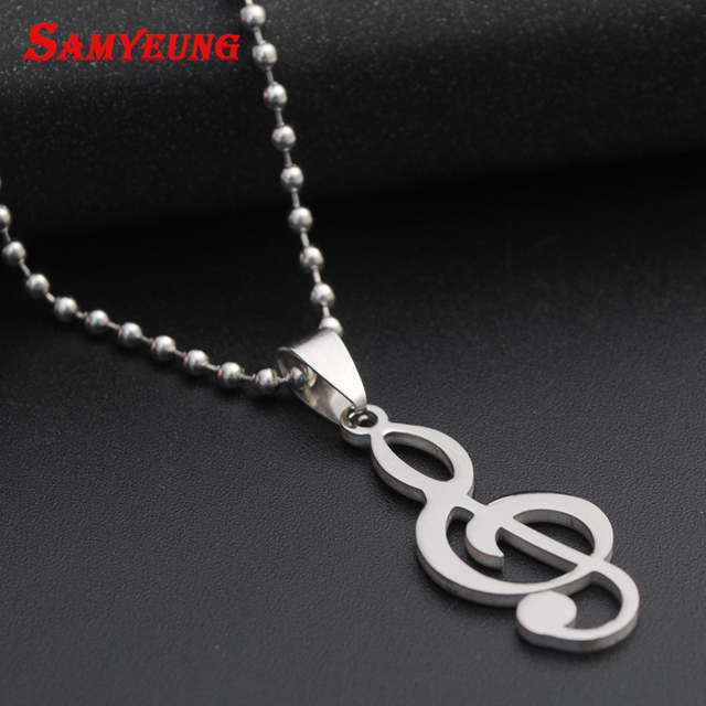 US $1 24 31% OFF Fashion DIY Music Logo Necklaces for Men Stainless Steel  Long Chain Necelace Male Friendship CS GO Neclace CSGO Neckless kolye-in