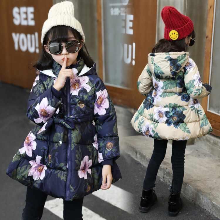 חורף 2018 מעיל ילד תינוקת פרחוני הדפסת ברדס מעיל בנות ילדים מרופד מעיל ארוך שרוול קשת מזדמן ילדים הלבשה עליונה