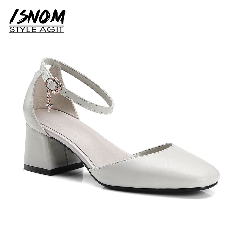 ISNOM 2018 Summer Sandals Women Genuine Leather Hoof Heels Buckle Square Toe Cover Heels Footwear Office High Heels Ladies Shoes lucyever women vintage square toe flat summer sandals flock buckle casual shoes comfort ankle strap women footwear mujer zapatos