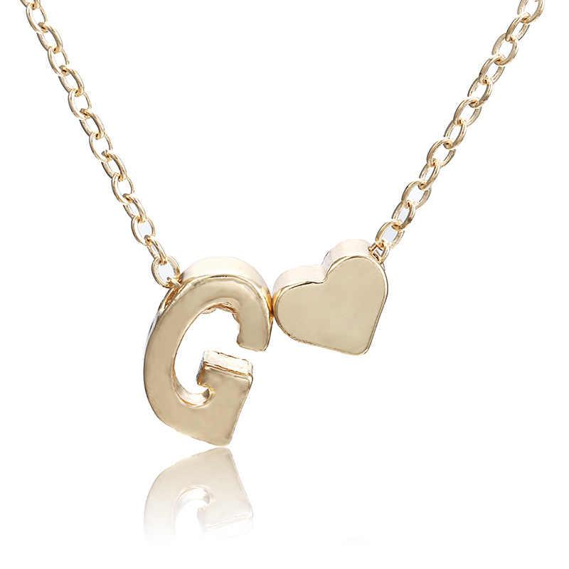 Moda Minúsculo Coração Dainty Colar Inicial Carta Personalizada Colar Nome Jóias para mulheres acessórios presente namorada