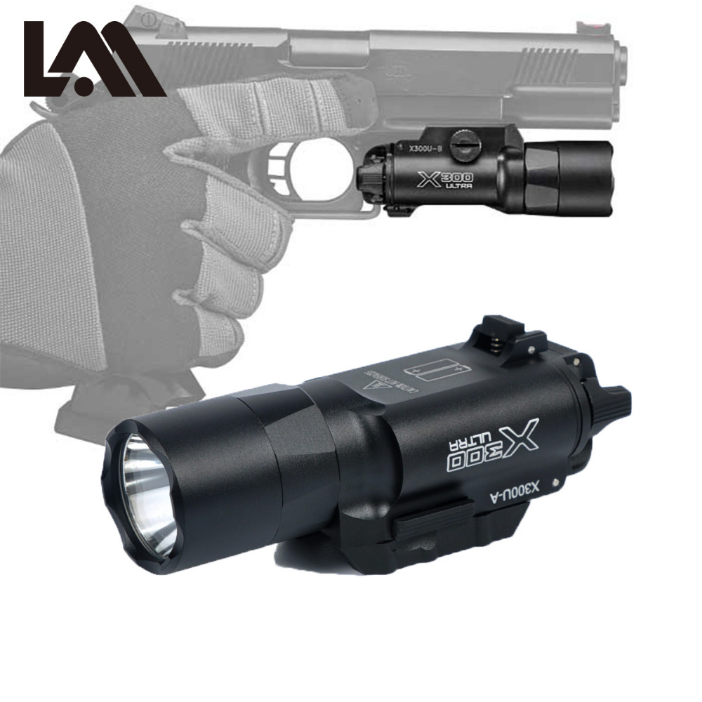 TacticaL Flashlight X300 Ultra X300U Weapon Light Military Constant / Momentary Pistol Gun Light Fit 20mm Picatinny Weaver Rail ex367 element sf x400u ultra led tactical light 20mm picatinny weaver rail weapon light with red laser for pistol or hunting