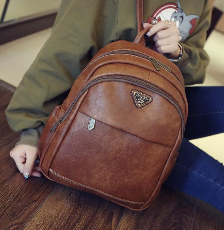 2016 autumn new retro quality PU leather shoulder bag Women bag British Fashion Institute of wind schoolbag large capacity bag dermis women bag 2016 new leisure backpack camouflage personalized backpack korea institute of wind schoolbag