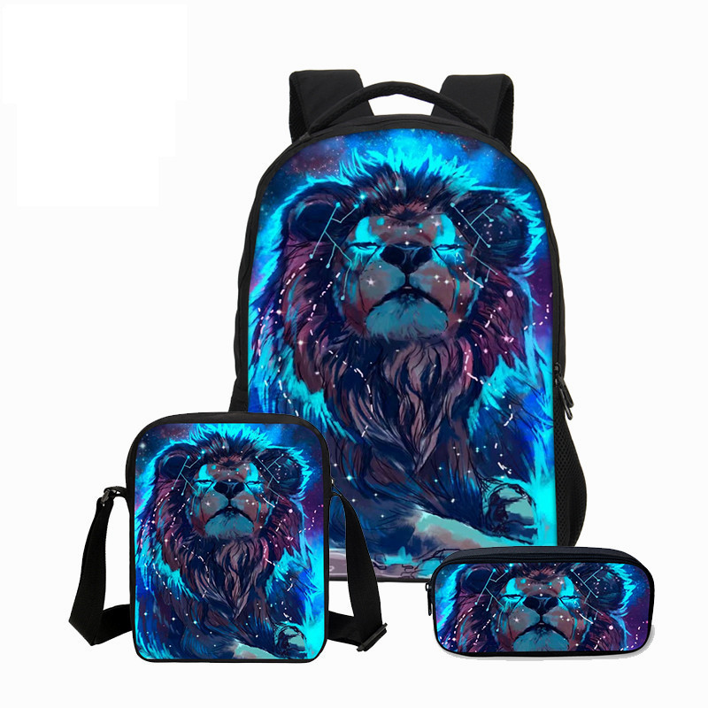 VEEVANV New 3 PCS/SET 3D Animal Bookbag Children Backpacks Men Cool Lion Printing Backpack School Bag Fashion Boys Shoulder Bag hynes eagle 3 pcs set 3d letter bookbag boys backpacks school bags children shoulder bag mochila girls exo printing backpack