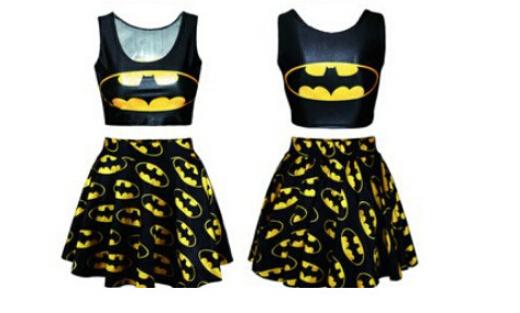 Top colheita Conjunto de Estilo 3D Impresso Batman Dois Cortar Pedaço Bodycon Top e Saia Set