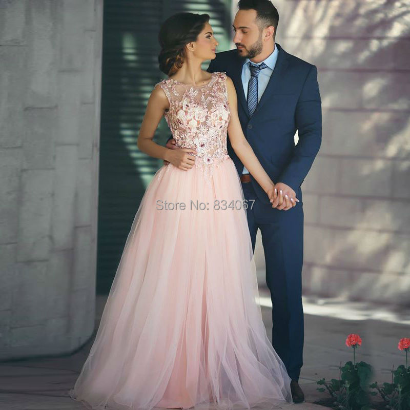 Pink Tulle Long Prom Dresses 2017 Hand Make Flowers Pearls