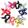 New Arrival 10Pcs Girl Rabbit Ear Polka Dots Print Hair Tie Bands Accessory Ponytail Holder