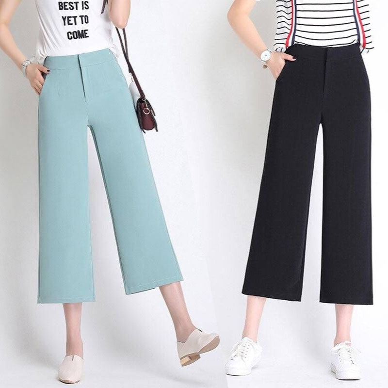 Wide Leg Pants Chic High Waist Causal Pants Capris Women Spring Loose Split Wide Pants Female Autumn Pants Streetwear Black