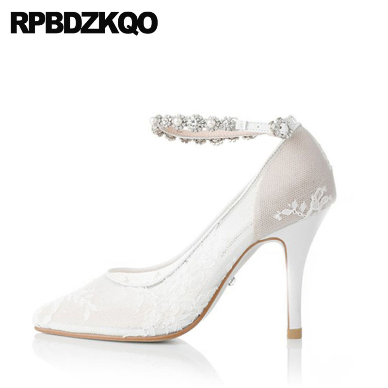 Pumps Size 33 Ankle Strap Ivory Lace Bridal Shoes Thin Bride Diamond Big Pointed  Toe Wedding Crystal Women Up Mesh High Heels 6f6cc2fbc452