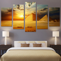 fashion Canvas Wall Art HD Printed Modular Pictures 5 Pieces Sunset Egypt Pyramid Paintings Living Room Modern Landscape Posters
