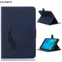 New Pressed Feather Pure Color Design Foldable PU Leather Stand Flip Tablet Covers For SumSung Galaxy