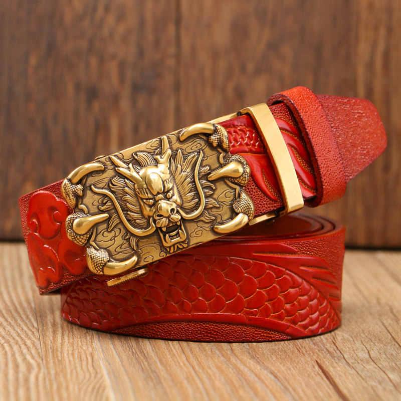 جديد الصين التنين مصمم حزام الرجال gafskin حقيقية فاخرة أحزمة رجالية جلدية للرجال نحت التنين نمط التلقائي مشبك