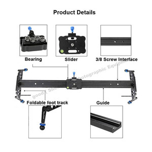 Image 5 - 60 cm/80 cm/100 cm 카메라 슬라이더 전문 비디오 트랙 베어링 슬라이더 dslr 카메라 캠코더 용 돌리 안정기 레일 시스템