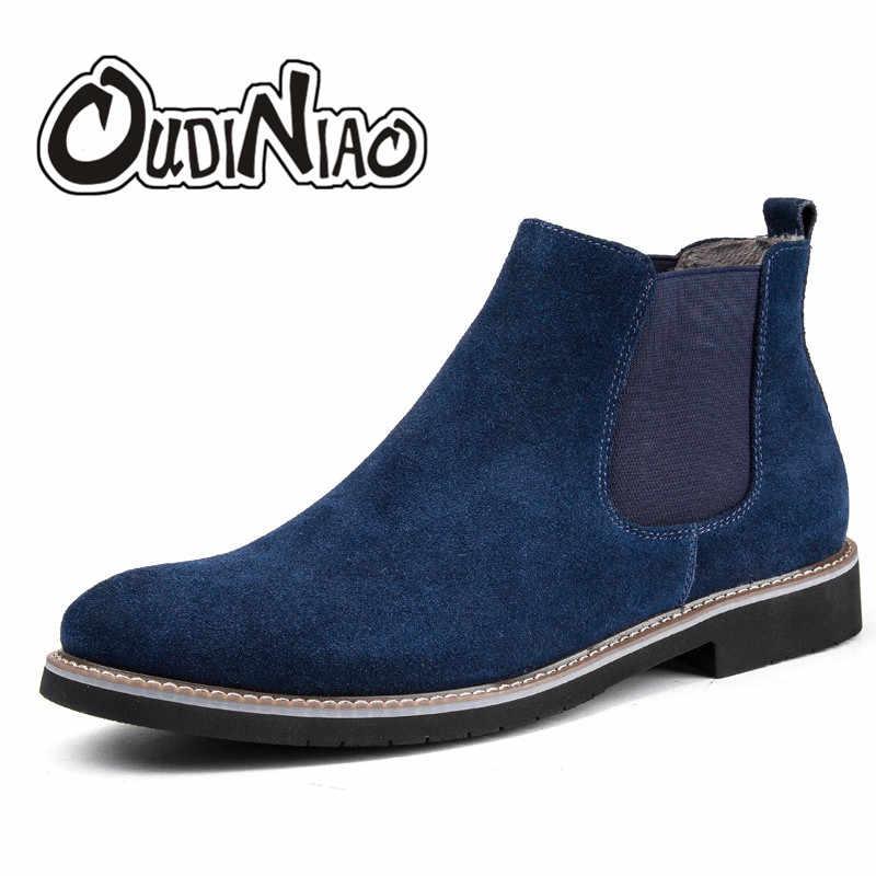 0b4d593bd OUDINIAO Весенняя мода 2018 Ботинки Челси Для мужчин слипоны замшевые  ковбойские сапоги мужские Круглый Разделение кожа