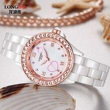 Роскошные Модные Женщины Real Керамический Часы Bling Crystone Леди Платье Наручные Часы relojes mujer Женщины Досуг Элегантные Часы OP001