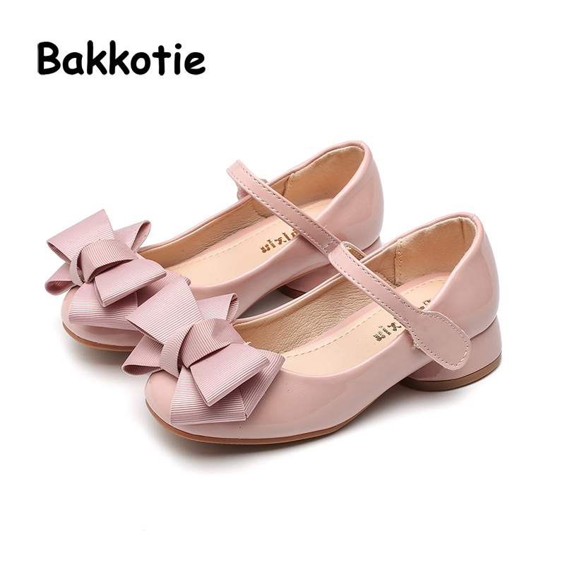 Bakkotie 2018 Spring New Fashion Patent Leather Heel Child Baby Casual Princess Shoe Flat Bow kid Brand Summer Girl Mary Jane