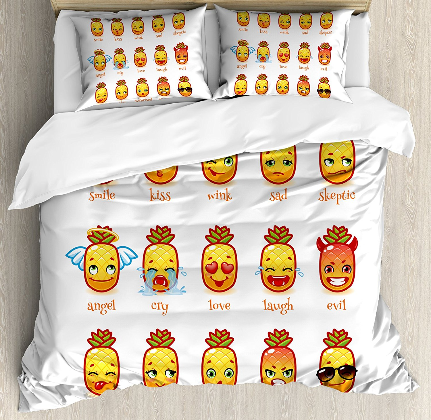 Emoji Duvet Cover Set King Size Funny Pineapples with Faces