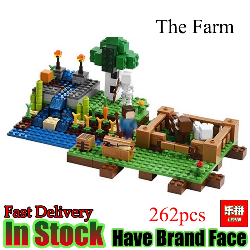 Lepin Minecraft 262pcs Farm animals My World Model Building Set Model Blocks Bricks Toys For Gift Kids my first animals