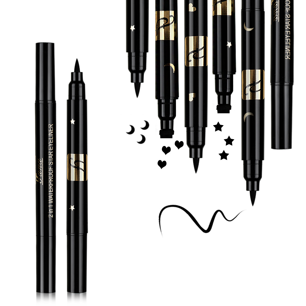 1PC Waterproof Double Head Waterproof Liquid Stamp Eyeliner Pen Tattoo Stamping Eye Liner Pencil Makeup Tools Heart Star Moon in Eyeliner from Beauty Health