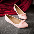 2015 Spring NEW ARRIVAL Solid Patent leather pointed toe Fashion Women Flat shoes for Lady bow Flats Wild work shoes XO031