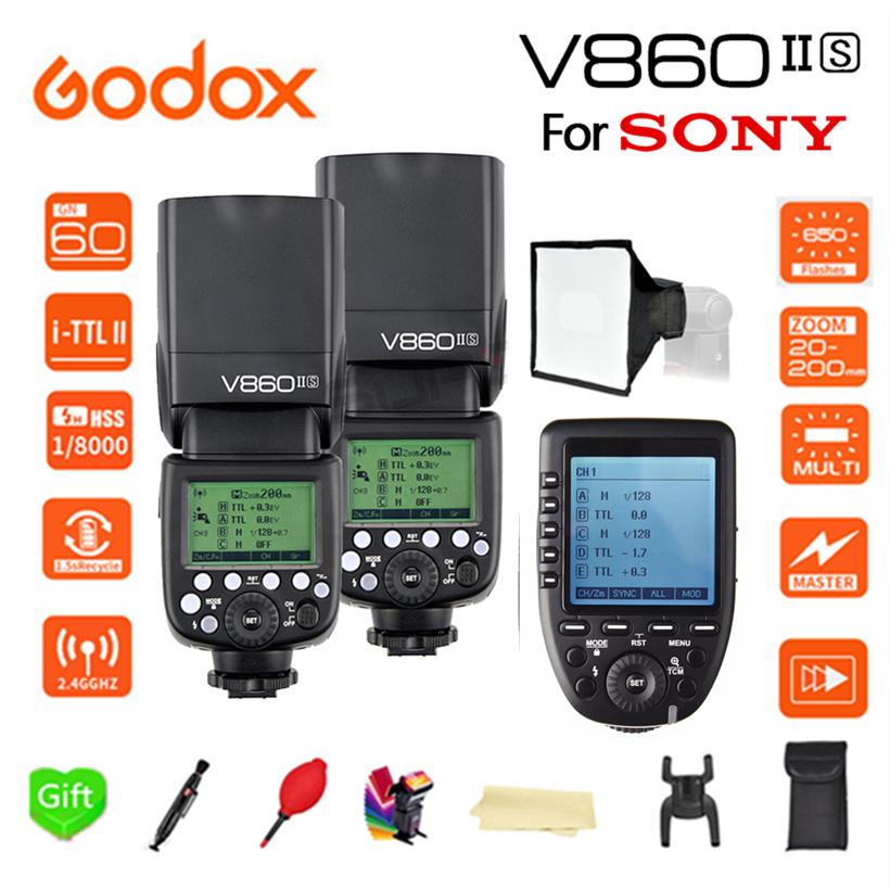 Paypal Accpect, Godox V860II Flash Speedlight 2*V860II-S TTL GN60 Li-Battery HSS 1/8000s Camera Flash + XPRO-S trigger for Sony godox v860iis flash speedlite 2 v860ii s ttl hss 2 4g li ion battery x1t s trigger for sony dslr cameras supon free gift kit