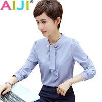 2018 primavera otoño suelta o-cuello mujeres blusa formal manga larga elegante casual gasa Oficina trabajan más tapas del tamaño
