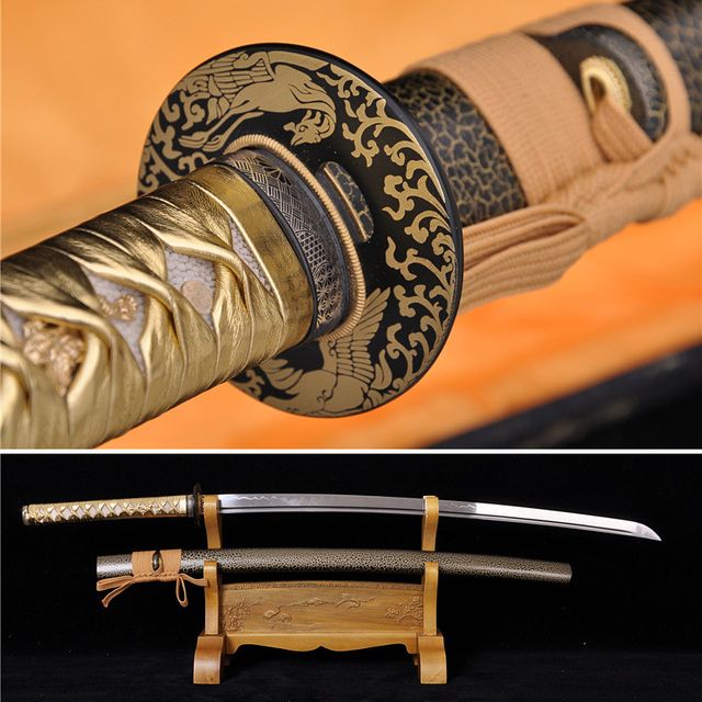 Clay Tempered Steel Blade Japanese Samurai Golden Phoenix Katana Sword Handmade