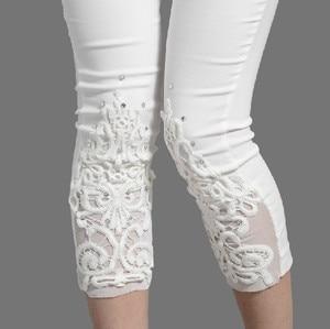Image 4 - Women Elastic Lace Leggings Summer thin three quarter Pants bodycon jeggings Big Size Cropped Short Trousers Black White