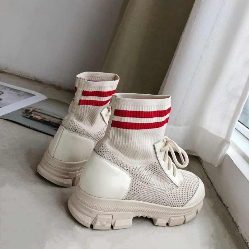 REAVE KEDI Kadın Hakiki deri sneakers lace up çorap örgü yarım çizmeler sonbahar yürüyüş ayakkabıları kalın alt Siyah Bej