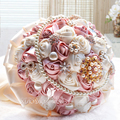 Free shipping Large ribbon ribbon roses flower ball wedding gift bride holding flowers Korean pearl pink diamond simulation