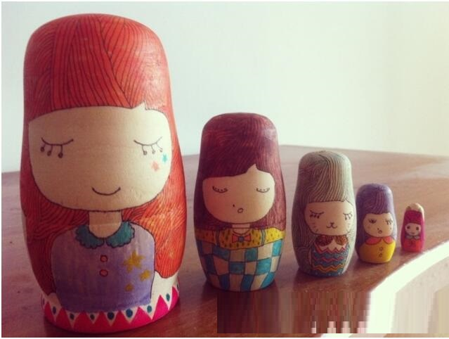 Cute white embryo Hand painted DIY wooden Russian Nesting Dolls Children s educational toys