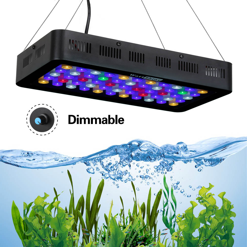 Dimmable aquarium Grow Hydroponics light 165W White Black Full spectrum Fish tank Coral growth Ornamental fish culture CE\ROHS aquarium ornamental fish enriched feed map fish lucky natural fish food grain blood parrot fish feed float brightening