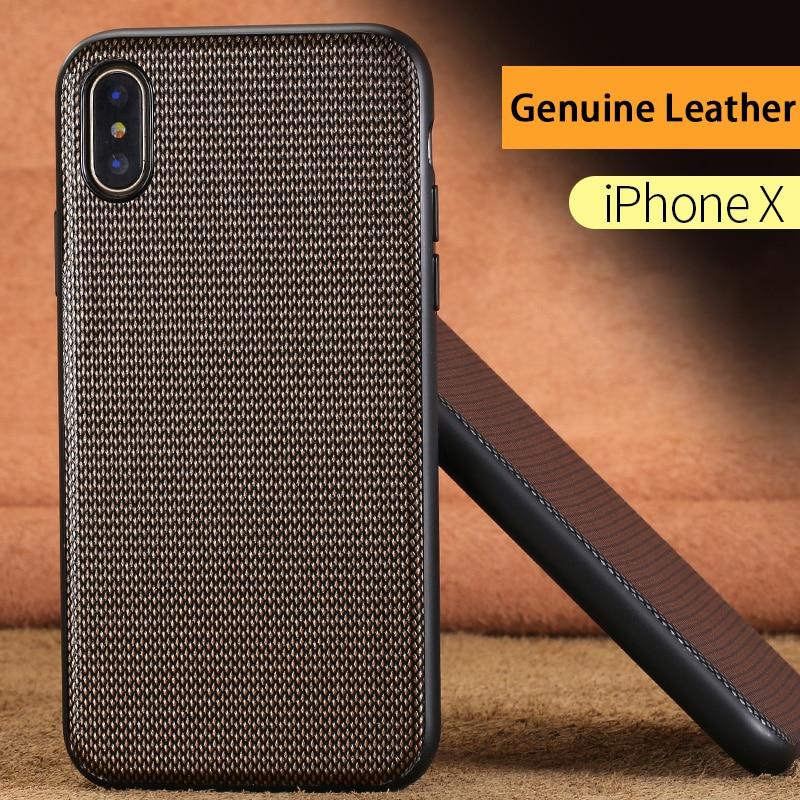 Luxury Genuine Leather Phone Case For iPhone X Diamond