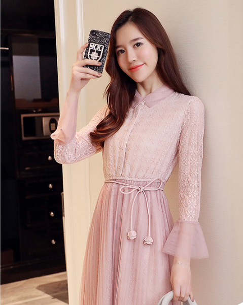 Mr.nut long lace dress female spring and autumn 2019 new mesh dress Slim openwork dress