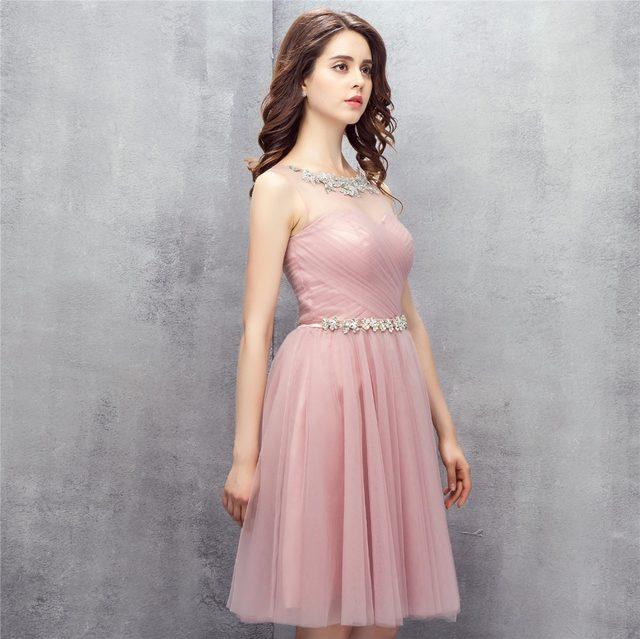 Tienda Online Dusty Pink Sheer Vestidos de baile corto 2017 vestido ...