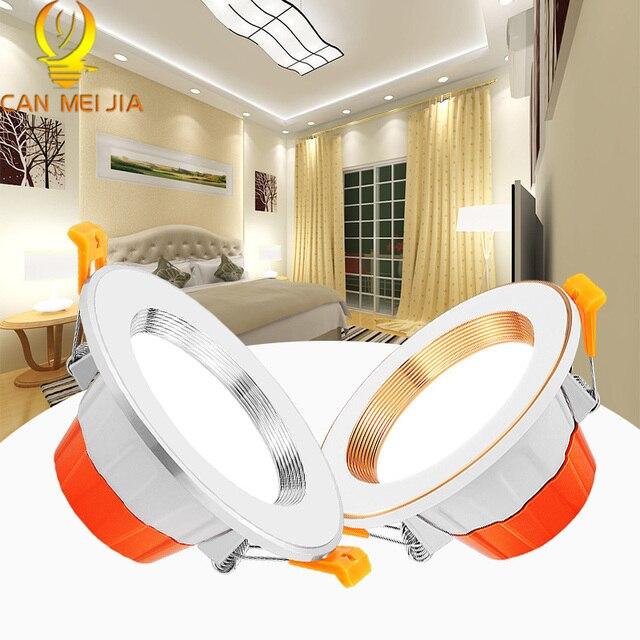 CANMEIJIA светодиодный светильник с регулируемой яркостью 5 Вт 9 Вт 220 В, Круглый встраиваемый светильник, Светодиодный точечный светильник, Светильники для спальни, дома, теплый белый