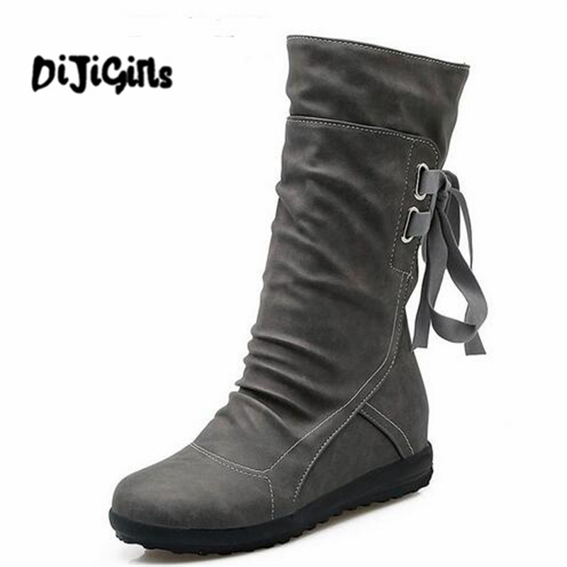 Women Winter Snow Boots Mid-Calf Solid Flat With Winter PU Boots Warm Fur Inside Ladies Shoes 2016 rhinestone sheepskin women snow boots with fur flat platform ankle winter boots ladies australia boots bottine femme botas