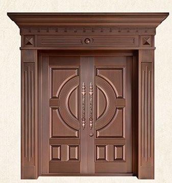Bronze Door Security Copper Entry Doors Antique Copper Retro Door Double Gate Entry Doors H-c11